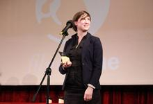 "Evelyn Rack, responsible for the final cut of ""Chaja & Mimi"" and best editor of the world recieving the award (Photography: Jeannette-Maria Giza)"