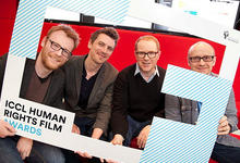 Die ICCL Human Rights Film Awards Jury (v.l.n.r): Brian Gleeson, Nicky Phelan (Brown Bag Films), Conor McPherson und Lenny Abrahamson