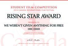 """Rising Star Award-Zertifikat für """"Geschenkt wurde uns nichts"""""""
