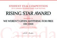 "Rising Star Award certificate for ""We Weren't Given Anything for Free"""